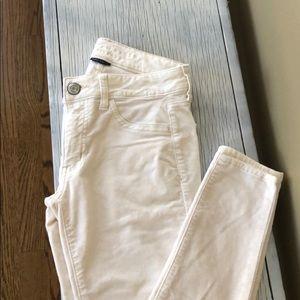 Cream brushed corduroy pants